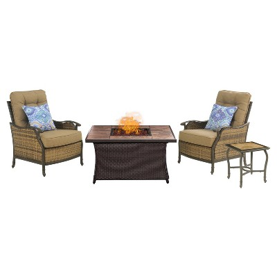 Superieur Hudson 4pc All Weather Wicker Patio Chat Set With Fire Pit Table   Tan    Hanover