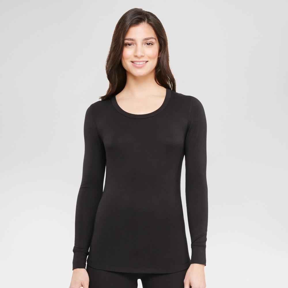 Warm Essentials by Cuddl Duds Women's Smooth Stretch Scoop Neck Top - Black L