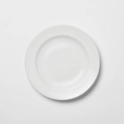 """Porcelain Rimmed Appetizer Plate 6.5"""" White - Threshold™"""