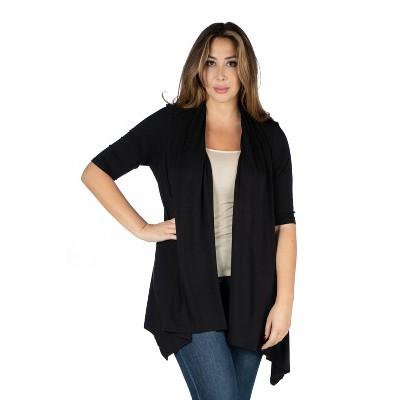 24seven Comfort Apparel Women's Plus Elbow Length Open Cardigan