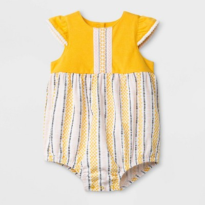 Baby Girls' Mini Cap Sleeve Round Neck Romper - Cat & Jack™ Red/Yellow Newborn