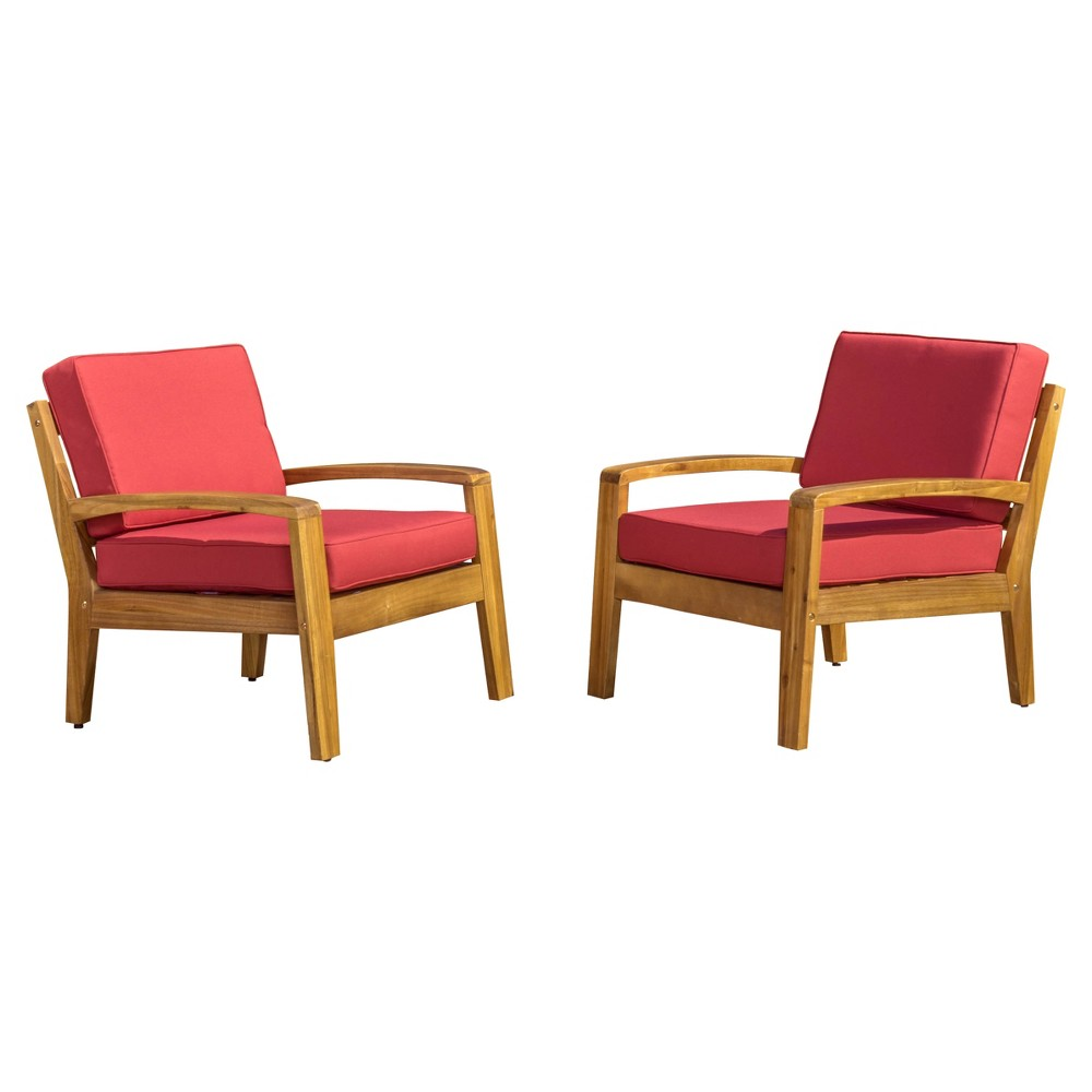 Grenada Set of 2 Wooden Club Chairs With Cushions - Red - Christopher Knight Home