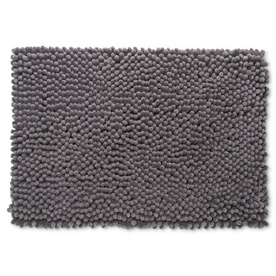 "17""x24"" Chunky Chenille Memory Foam Bath Rug Gray - Room Essentials™"