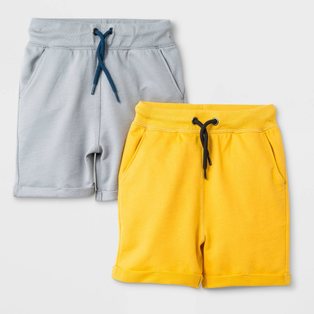 Toddler Boys' French Terry 2pk Roll-Cuff Pull-On Shorts - Cat & Jack Yellow/Gray 3T