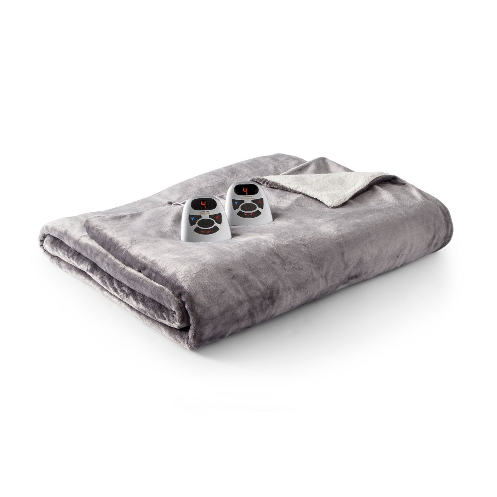 Velour & Sherpa Electric Blanket (Twin) Gray - Biddeford Blankets