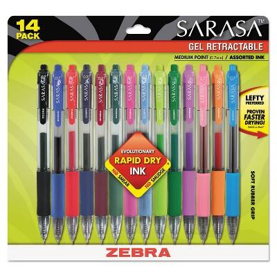 Zebra Sarasa Retractable Gel Pen Assorted Ink Medium 14/Pack 46824