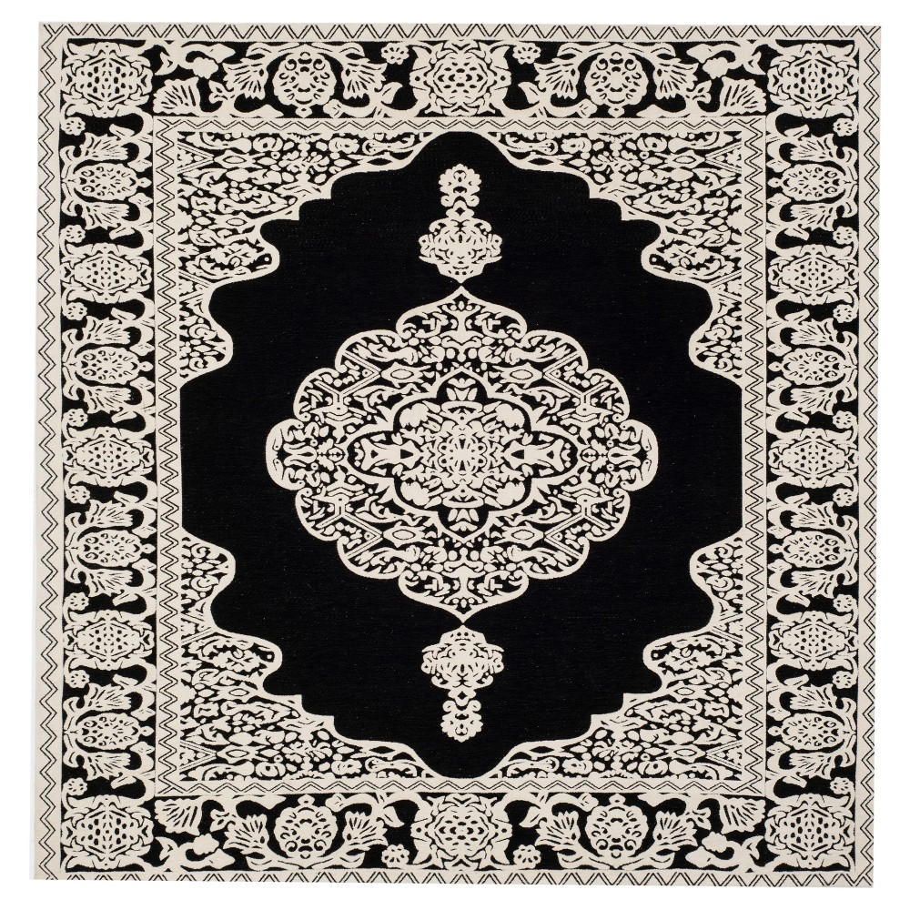 Black/Ivory Abstract Woven Square Area Rug - (6'X6') - Safavieh