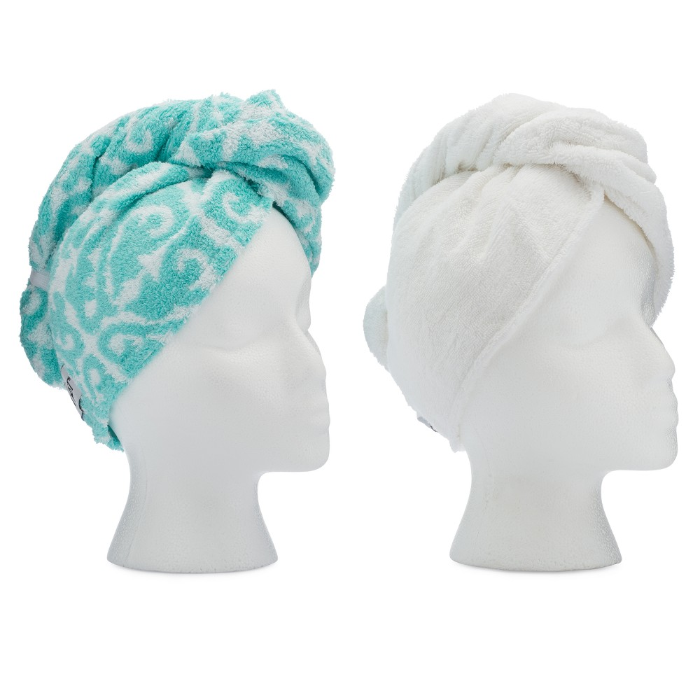 Image of Turbie Twist Cotton Hair Towel Aqua Paisley and White - 2pk
