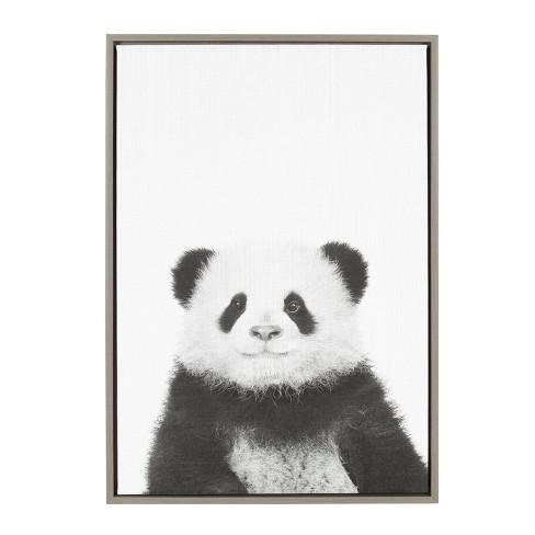 23 X 33 Sylvie Panda Framed Canvas By Simon Te Tai Gray Kate And Laurel Target