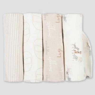 Gerber Baby 4pk Safari Flannel Blanket Set - Gray