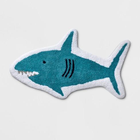 Shark Bath Rug Blue - Pillowfort™ - image 1 of 3