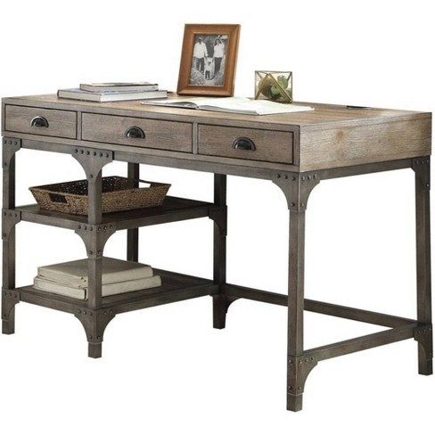 Wood And Metal Desk With 3 Drawers And 2 Side Shelves Brown/Gray - Benzara - image 1 of 1
