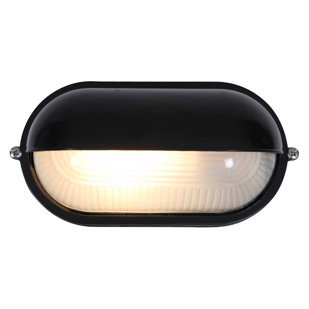 Nauticus Outdoor Bulkhead with Frosted Glass Shade and Metal Cover - Black (8)