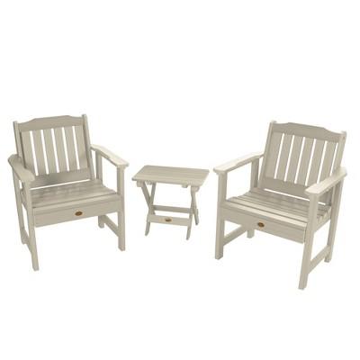 Lehigh 2pk Garden Chairs with 1 Folding Adirondack Side Table Whitewash - Highwood