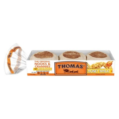 Packaged Bread: Thomas' English Muffins Honey Wheat