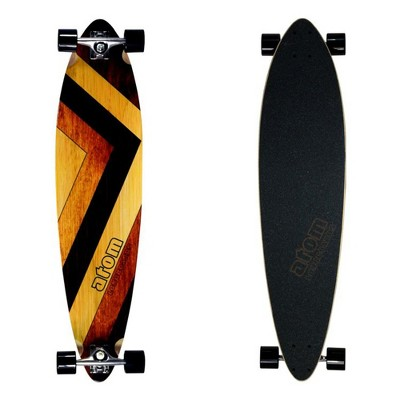 MBS 400130 Atom Pin-Tail Drop Deck 39 Inch Longboard Cruisers Skateboard, Woody Design