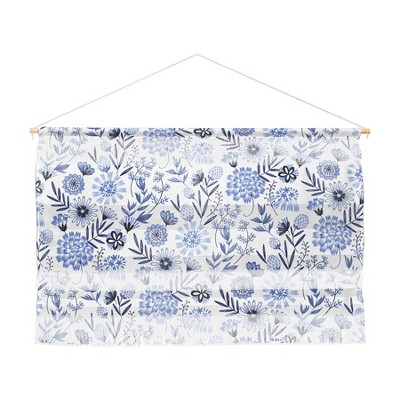 """47""""x32"""" 3pc Pimlada Phuapradit Blue And White Floral Wall Hanging Landscape Tapestries Blue - Deny Designs"""