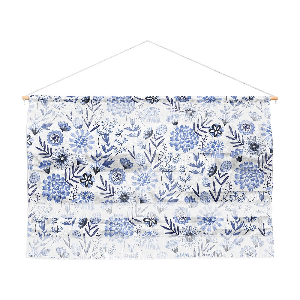 47x32 3pc Pimlada Phuapradit Blue And White Floral Wall Hanging Landscape Tapestries Blue - Deny Designs
