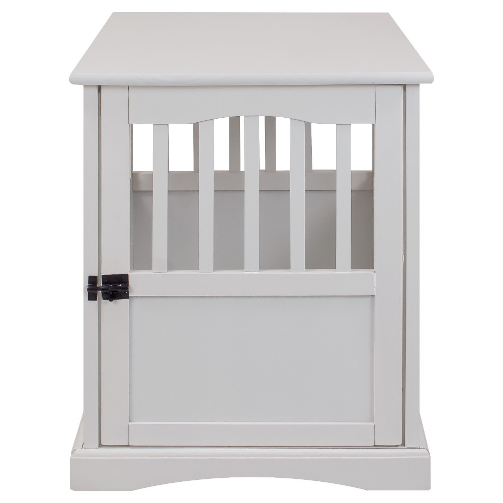 Dogs Pet Crate End Table Small - White - Flora Home