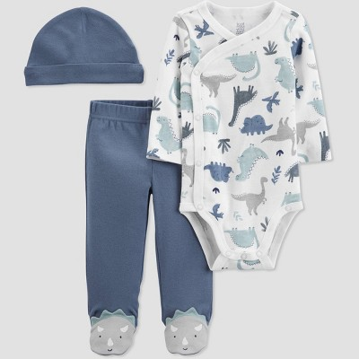 Baby Boys' 3pc Dino Top and Bottom Set with Hat - Just One You® made by carter's White/Blue