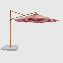 11' Offset Cabana Stripe Patio Umbrella - Light Wood Pole - Threshold™