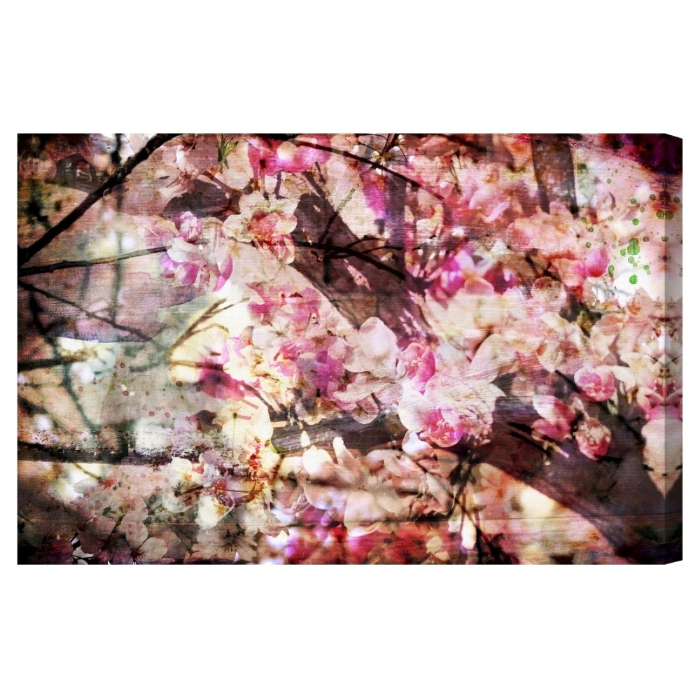 "Image of ""Oliver Gal Unframed Wall """"Cherry Woods"""" Canvas Art (24x16), Pink"""