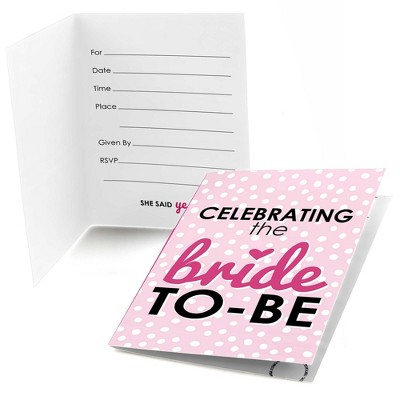 Big Dot of Happiness Bride-To-Be - Fill-In Bridal Shower & Classy Bachelorette Party Invitations (8 count)
