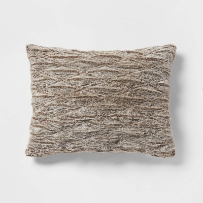 Standard Ruched Faux Fur Pillow Case Brown - Threshold™