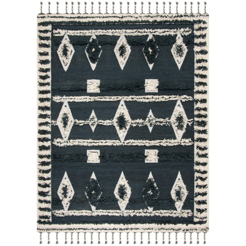 8'X10' Tribal Design Knotted Area Rug Charcoal/Ivory (Grey/Ivory) - Safavieh