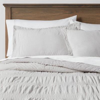 King Seersucker Comforter & Sham Set Light Gray - Threshold™