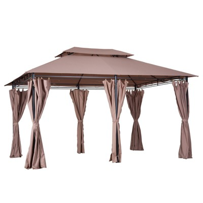 Outsunny 10' x 13' Steel Outdoor Patio Gazebo Canopy with Tier-Level Roof, Polyester Curtains, & 12 Ground Stakes