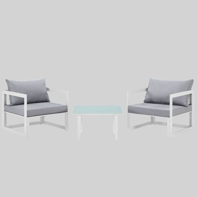 Fortuna 3pc Outdoor Patio Sectional Sofa Set - Gray - Modway