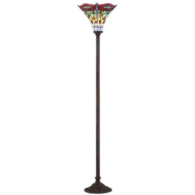 """71"""" Dragonfly Tiffany Style Torchiere Floor Lamp (Includes Energy Efficient Light Bulb) - JONATHAN Y"""