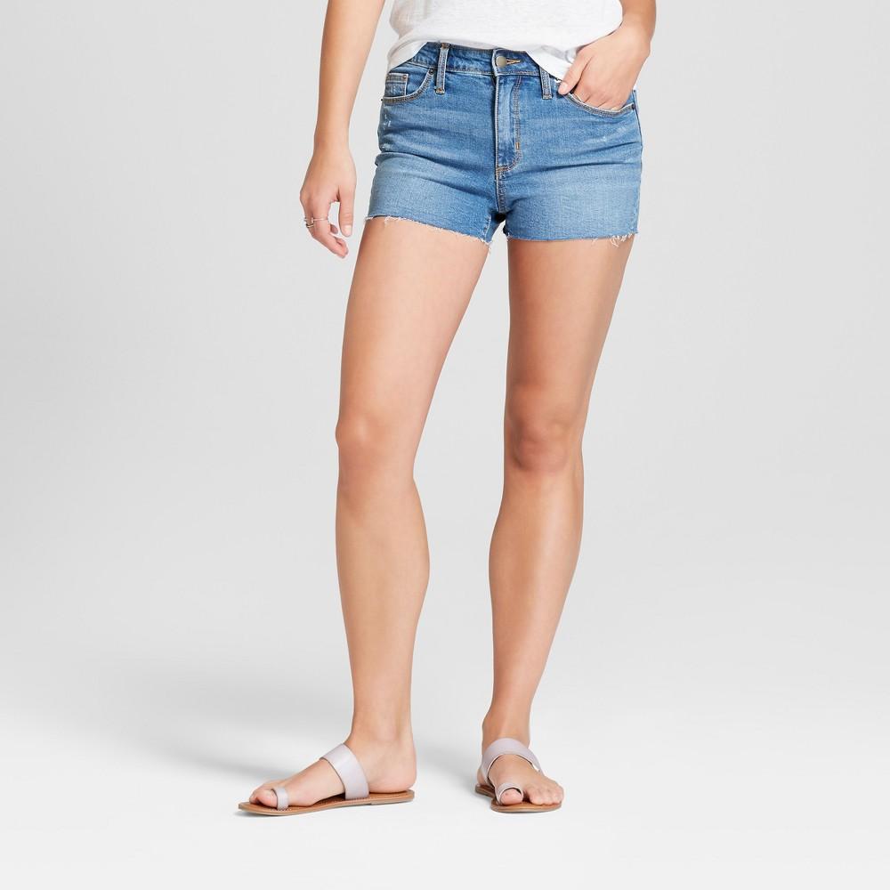 Women's High-Rise Raw Hem Jean Shorts - Universal Thread Light Wash 18, Blue
