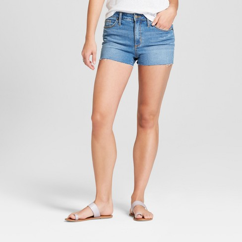 Women's High-Rise Raw Hem Jean Shorts - Universal Thread™ Light Wash - image 1 of 3