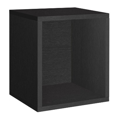 Way Basics Stackable Eco Storage Cube Cubby Organizer Black Wood Grain