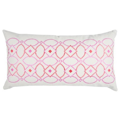 """Pink Cotton Throw Pillow (14""""x26"""") - Rizzy Home"""