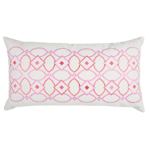 "Pink Cotton Throw Pillow (14""x26"") - Rizzy Home - image 1 of 3"