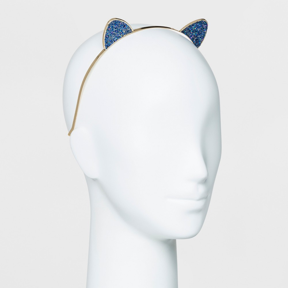 Metal Crunchy Glitter Cat Ears Headband - Wild Fable Gold