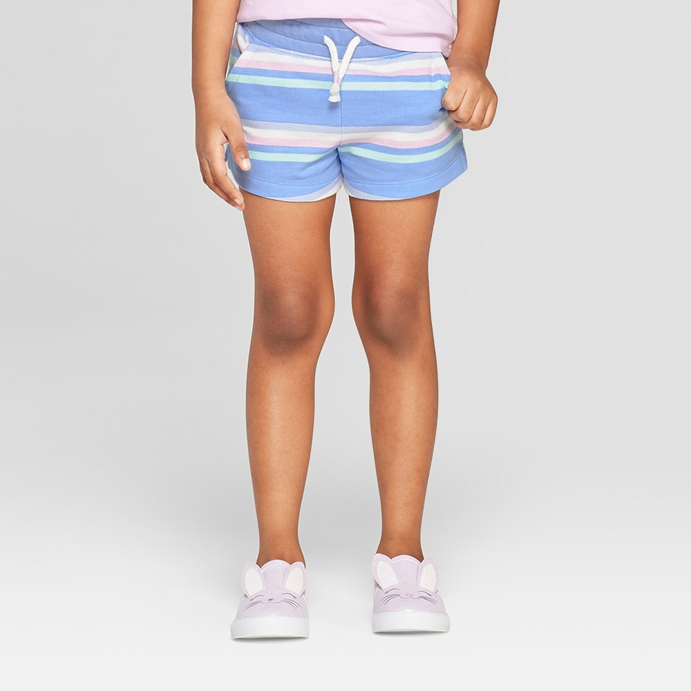 Toddler Girls' Striped Straight Pull-On Shorts - Cat & Jack Blue 4T