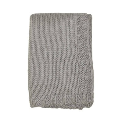 Kimberly Grant Large Gauge Cable Knit Blanket - Gray