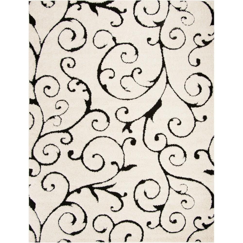8'X10' Swirl Loomed Area Rug Ivory/Black - Safavieh