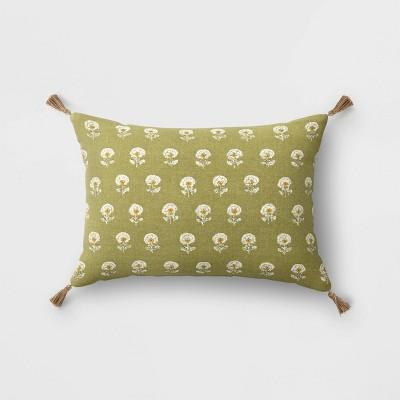 Block Print Throw Pillow with Tassels - Threshold™