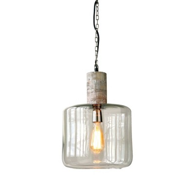 Round Clear Glass and Mango Wood Hanging Pendant Ceiling Light - 3R Studios