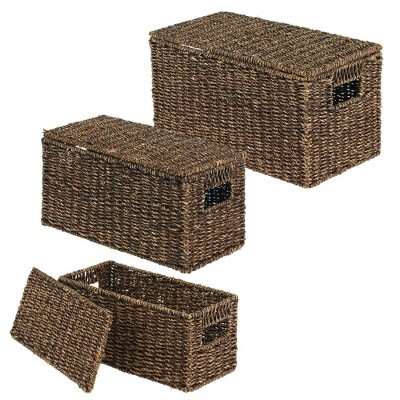mDesign Woven Seagrass Home Storage Basket with Lid, Set of 3