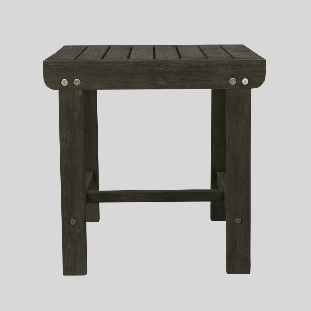 Renaissance Wood Outdoor Patio Side Table - Gray - Vifah