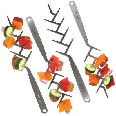 BBQCroc Stainless Steel 15 Inch Long Zig Zag 9 Prong Cooking Skewers for Outdoor Grilling and Fire Roasting Marshmallows (4 Pack)