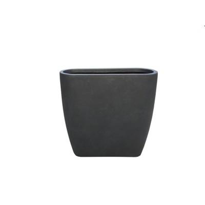 Kante Lightweight Modern Outdoor Concrete Oval Planter Charcoal Black  - Rosemead Home & Garden, Inc.
