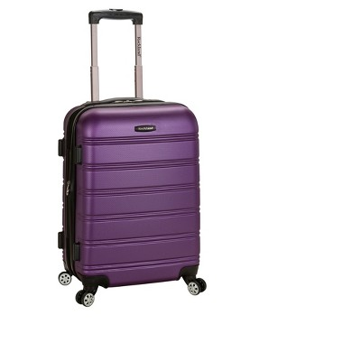 """Rockland Melbourne 20"""" Expandable ABS Carry On Spinner Suitcase - Purple"""