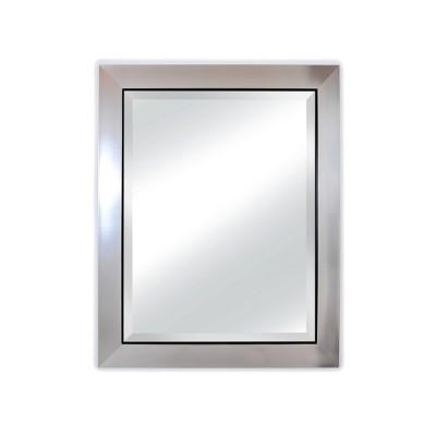 "29"" X 35"" Brighton Black Edge Framed Wall Mirror with Beveled Glass Silver - Alpine Art & Mirror"
